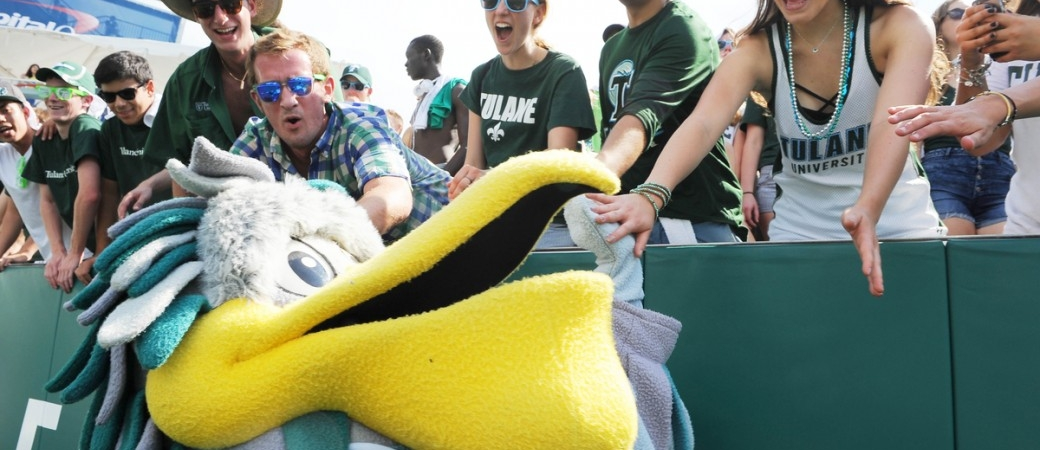 Riptide the Pelican, mascot for the Tulane Green Wave