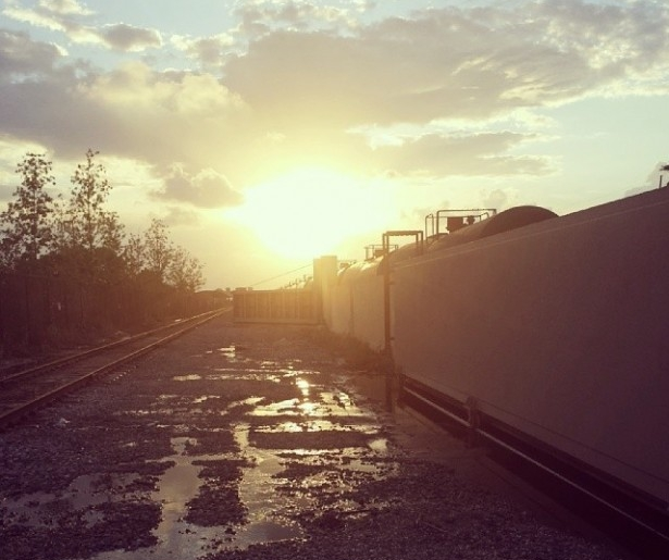 Sunset over the tracks